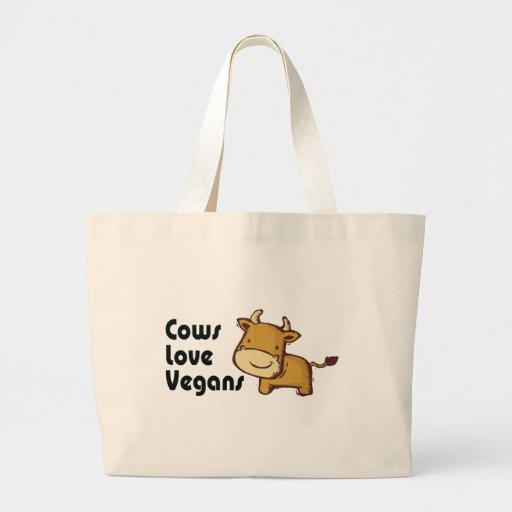 cows love vegans jumbo tote bag