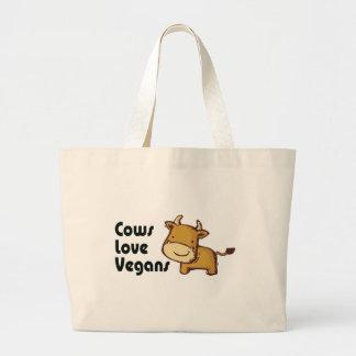 cows love vegans large tote bag