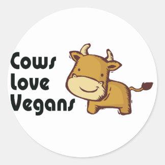 cows love vegans round stickers