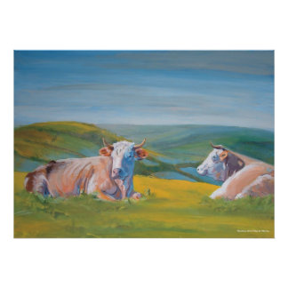 Cows lying down & Landscape Valley painting Print