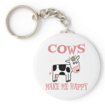 Cows Make Me Happy Keychain