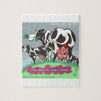Cows Making Heavy Cream Funny Cartoon Jigsaw Puzzle