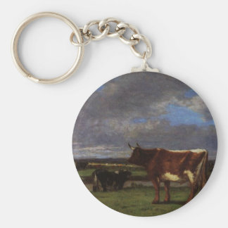 Cows near the Toques by Eugene Boudin Keychain