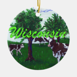 Cows of Wisconsin Ceramic Ornament