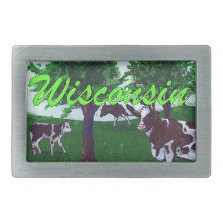 Cows of Wisconsin Rectangular Belt Buckle