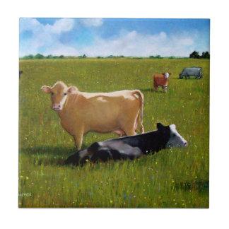 Cows: Oil Pastel: Realism Art: Farm, Country Tile