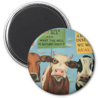 Cows On Strike 2 Inch Round Magnet