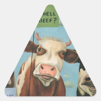 Cows On Strike Triangle Sticker