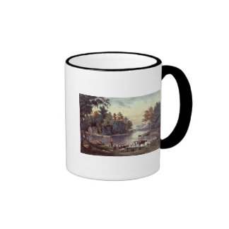 Cows on the Shore of a Lake Ringer Coffee Mug