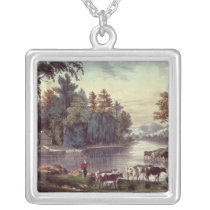 Cows on the Shore of a Lake Silver Plated Necklace
