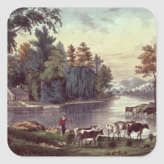 Cows on the Shore of a Lake Square Sticker