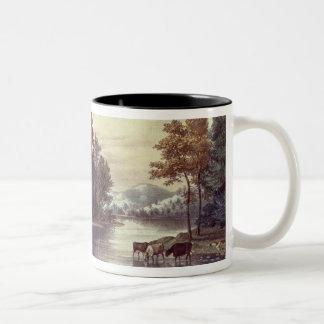 Cows on the Shore of a Lake Two-Tone Coffee Mug