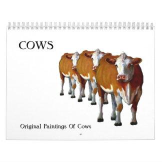 COWS: Original Art of Various Cattle Wall Calendar