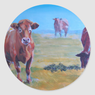 cows painting classic round sticker