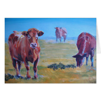 cows painting greeting card