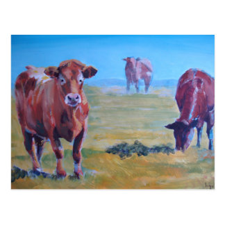 cows painting postcard