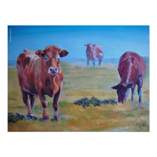 cows painting poster