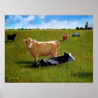 COWS PASTEL ART POSTER print
