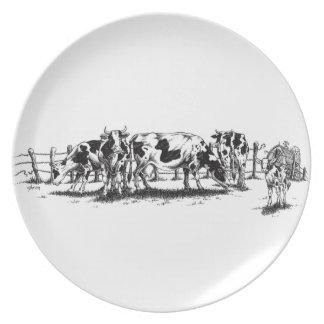 cows dinner plates