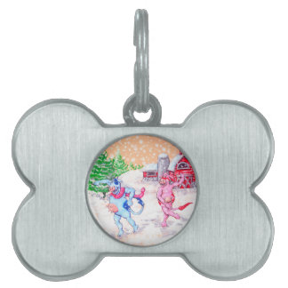 Cows Playing in the Snow Pet Name Tag