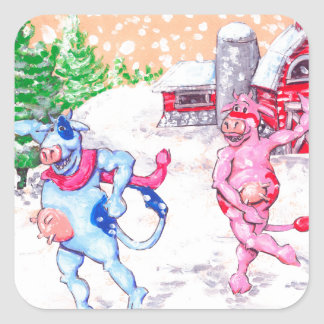 Cows Playing in the Snow Square Sticker