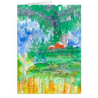 Cows Red Barn Happy Birthday Card