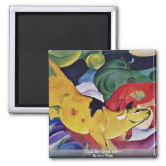 Cows, Red Green Yellow By Marc Franz 2 Inch Square Magnet