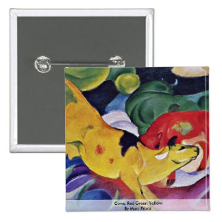 Cows, Red Green Yellow By Marc Franz Pinback Buttons