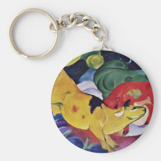 Cows, Red Green Yellow By Marc Franz Keychains