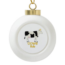 Cows Rule Golden Crown Ceramic Ball Christmas Ornament