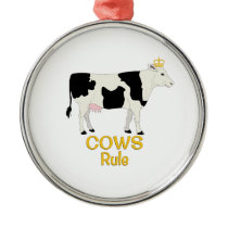 Cows Rule Golden Crown Metal Ornament
