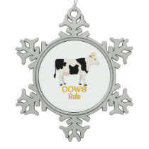 Cows Rule Golden Crown Snowflake Pewter Christmas Ornament