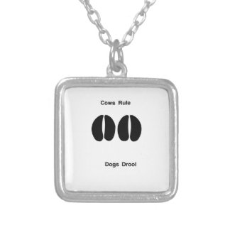 Cows rule silver plated necklace