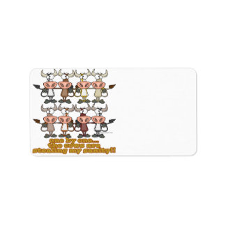 cows stealing my insanity humor cartoon personalized address label