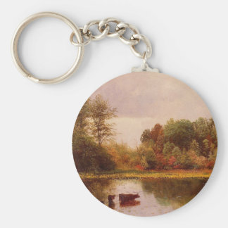 Cows Watering in a Landscape by Albert Bierstadt Keychain