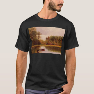 Cows Watering in a Landscape by Albert Bierstadt T-Shirt
