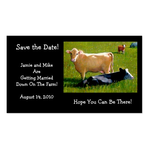 COWS: WEDDING:FARM: SAVE DATE CARD BUSINESS CARD