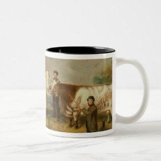 Cows with a herdsman Two-Tone coffee mug