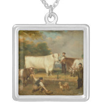 Cows with a herdsman silver plated necklace