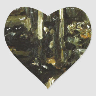 Cowshed by Lovis Corinth Heart Sticker