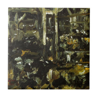 Cowshed by Lovis Corinth Small Square Tile