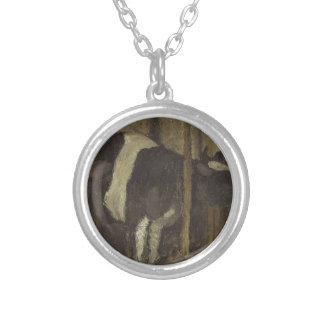 Cowshed by Paula Modersohn-Becker Round Pendant Necklace