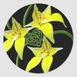 Cowslip Orchid Love Celtic Knotwork Heart Classic Round Sticker