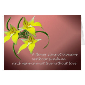 Cowslip Orchid Love Quote Celtic Knotwork Heart Card