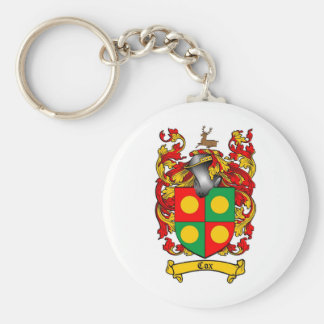 COX FAMILY CREST -  COX COAT OF ARMS BASIC ROUND BUTTON KEYCHAIN
