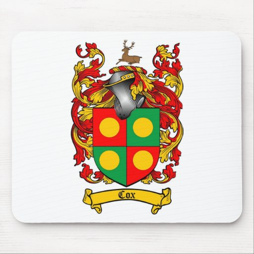 COX FAMILY CREST -  COX COAT OF ARMS MOUSE PAD