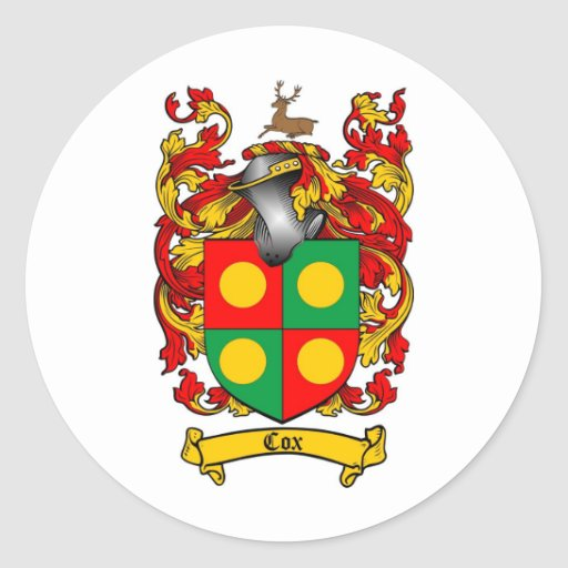 COX FAMILY CREST -  COX COAT OF ARMS ROUND STICKER