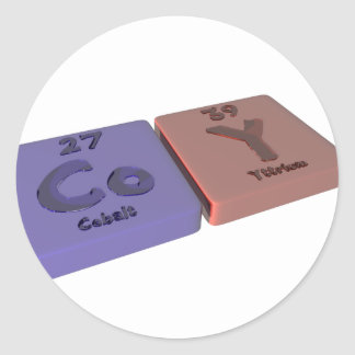 Coy as Cobalt Co and Yttrium Y Classic Round Sticker