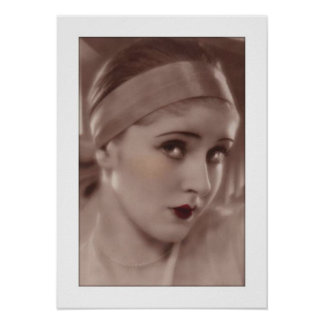 coy deco woman with headband poster