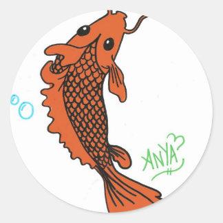 Coy fish round sticker